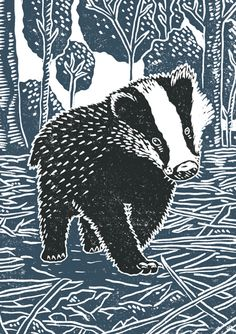 'Young Badger' By Printmaker James Green. Blank Art Cards By Green Pebble. www.greenpebble.co.uk