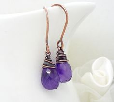 Dark purple amethyst earrings, Purple gemstone teardrop wire wrapped copper earrings, amethyst and copper jewelry