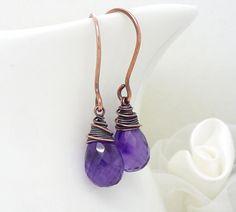 Dark purple amethyst earrings, Purple gemstone teardrop wire wrapped copper earrings, amethyst and copper jewelry