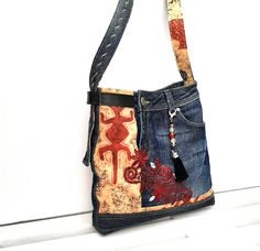 Denim And Co, Denim Bag, Unique Bags, Messenger Bag, Upcycle, Recycling, Upholstery, Satchel, Etsy