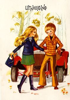 Postcard vintage seventies Mod boy and girl by bluumievintage, $4.25