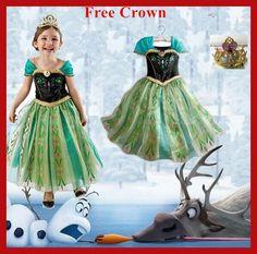 2016 Anna dress Princess girls costume for kids party disfraces princesa vestido ana de festa Carnaval fantasia infantil meninas
