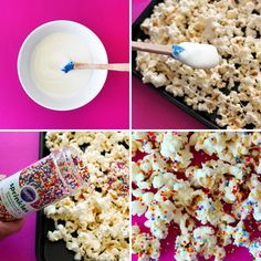 Popcorn-4-Rainbow: Use drizzled white chocolate and sprinkles on popcorn!