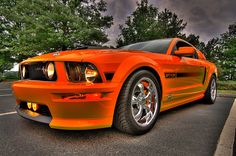 HDR 2007 california special grabber orange mustang by ron rudolph, via Flickr