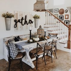 Gather ... typography, rustic table