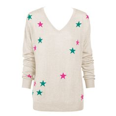 Sophisticated oatmeal tone scattered with bright stars, this Intarsia knit sweater is very special and a versatile garment for your wardrobe. Perfect for work or fun, the soft silhouette is feminine and flattering, providing understated elegance. Wear it with a suit, pant or skirt, or team it on the weekend with white and denim.  Intarsia knitted stars in pink and jade  Super soft to touch  V neckline  Angora blend yarn