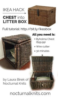 Ikea Cat Litter Box Hack - turn a cheap chest into custom cat box furniture in…