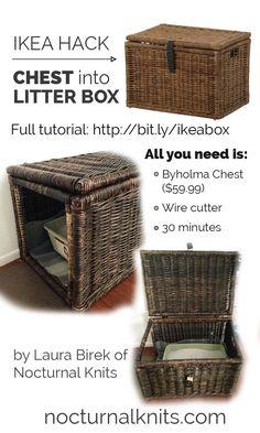 Ikea Cat Litter Box Hack - turn a cheap chest into custom cat box furniture in under an hour. BRILLIANT!