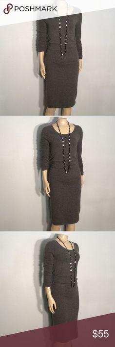 BCBG Maxazria gray sweater dress BCBG Maxazria gray sweater dress 55% cotton 25% polyester 17% acrylic 3% spandex BCBGMaxAzria Dresses Long Sleeve