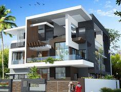 Village House Design, Bungalow House Design, House Front Design, Modern House Design, Modern Bungalow Exterior, Dream House Exterior, Latest House Designs, Facade House, Architect Design