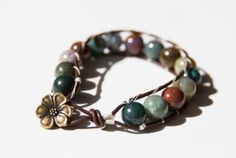 Wrapped leather bracelet with Indian Agate Gemstones #jewelry #leatherbracelet #Wrappedleatherbracelet