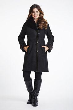 Full Length Large Collar Hooded Shearling Coat #4925 | Blue Duck Shearling