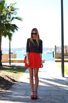 fashion, girl, heels, polka dots, red skirt