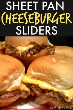 An easy sheet pan recipe for cheeseburger sliders made in the oven that cooks in one big batch and tastes just like White Castle burgers! Slider Recipes, Burger Recipes, Appetizer Recipes, Beef Recipes, Dinner Recipes, Cooking Recipes, Appetizers, Pan Cooking, Cooking Cake
