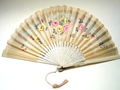 Vintage Ladies Hand Fan Asian Paper 1930s Floral by AllVintageLady, $16.95