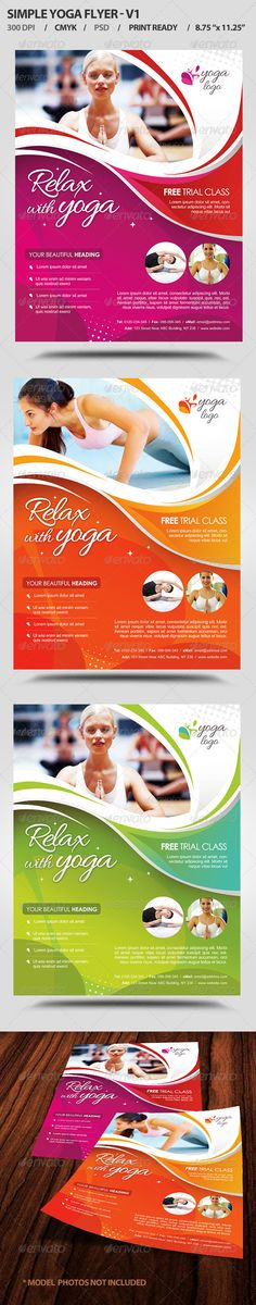 "Simple Yoga Flyer V1   #GraphicRiver         SPECIFICATIONS: ================ 1) Dimensions: 8.75"" by 11.25"" in size with bleeds 2) Resolution: 300 dpi CMYK / ready for print 3) Editable fonts/text 4) Easy to change colors 5) JPEGS included 6) Properly Layered Photoshop File – 3 files 7) Help file included  color options included FONTS USED: ============ Allura arial and Century gothic (System font) Model Photos are not included in Download. However they can be downloaded from photodune from..."