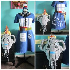 """Oh, my Whovians! This Crochet Tardis Dress by Oh, Diane will have you shouting, """"Bad Wolf Girl, I could kiss you!"""" (the belt the belt the belt) #knithacker #crochet #knit #knitting Doctor Who -- the belt is knitted, the dress is crocheted ..."""