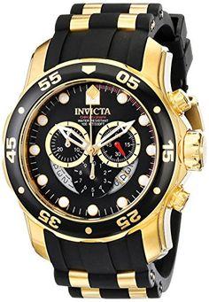 Invicta Herren-Armbanduhr XL Chronograph Quarz Kautschuk 6981 - http://on-line-kaufen.de/invicta/gold-schwarz-invicta-herren-armbanduhr-xl-quarz