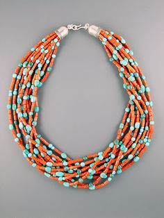 Dear Stylist - This is another pretty turquoise necklace, with coral beading instead of gold-colored metal. Ten strands of red Italian coral tubes and natural sleeping beauty turquoise nuggets finished off with our handmade silver cones. Ethnic Jewelry, Turquoise Jewelry, Boho Jewelry, Jewelry Crafts, Beaded Jewelry, Jewelery, Silver Jewelry, Jewelry Necklaces, Handmade Jewelry