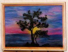 """Увлеклась   """"шерстяной акварелью"""",  очень  понравилось...  Пока  в  основном  цветы  разные рисовала, но  хочется  попробовать шерстью  и  пейзажи  изобразить .  Этот  вечерний  закат  -  первая  попытка  """"нарисовать""""  пейзаж... фото 1"""