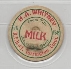 H.A. Whitney milk cap-Torrington, Connecticut