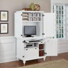 Home Styles Bermuda Brushed White Compact Computer Cabinet and Hutch - Computer Armoires at Hayneedle