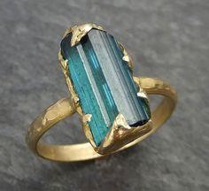 Raw Blue Green Tourmaline Gold Ring Rough Uncut Gemstone tourmaline recycled 14k stacking cocktail statement byAngeline 0347