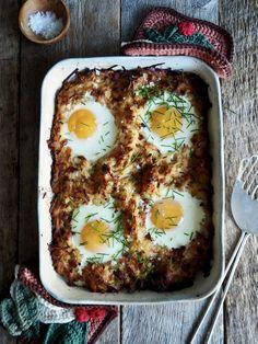 Röstipoteter i form, med skinke og egg Bacon, Eggs, Ethnic Recipes, Food, Egg, Meals, Egg As Food