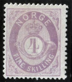 Norway 1872-75 Sc #19 4Sk Lilac Wtmk PostHorn Mint Hinged Good Centering cat 100