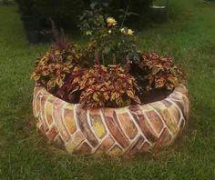 Animal Tire Planter Garden Art ---- Fab DIY ideas to convert old tires .Animal Tire Planter Garden Art ---- Fab DIY ideas to convert old tires for . Brick Planter, Tire Planters, Flower Planters, Garden Planters, Tire Garden, Garden Junk, Lawn And Garden, Brick Garden, Pallets Garden