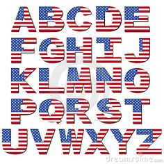 Illustration about American flag font isolated on white illustration. Illustration of flag, alphabet, colourful - 9991748 Patriotic Quilts, Patriotic Crafts, Alphabet Coloring Pages, Graduation Diy, Alphabet And Numbers, Free Illustrations, American Flag, Clip Art, Lettering