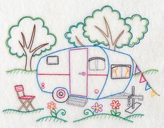 Vintage RV, Shasta, Retro RV, Camping, Redwork RV