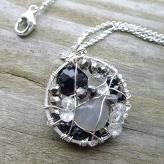 Mosaic Necklace Black Silver Gray Mosaic by CamileeDesigns