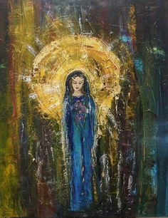 "Oilpaint by Jane MOnica Tvedt  ""Angels exist in our lives every day, but unless we remember how to listen, we are not aware of their presence"""