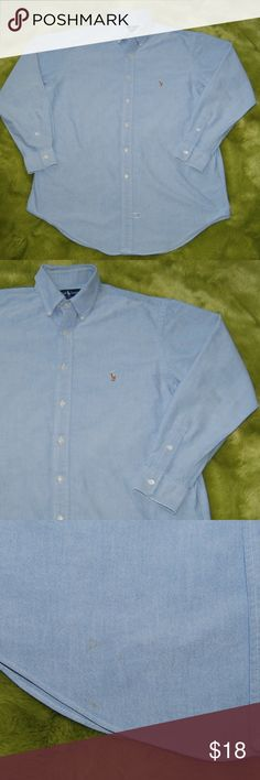 """Ralph Lauren Blue Collared Button Shirt size 16-34 Ralph Lauren Blue Collared Button Shirt  size 16-34 Yarmouth 100% Cotton NOTE: 3 faint stains on bottom right (last 2 photos) 2 collar buttons are cracked (see 5th photo)  Measurements taken with garment flat on table. Armpit to armpit: 25.75"""" Sleeves: 24"""" Length: 32"""" front 33"""" back Ralph Lauren Shirts Dress Shirts"""