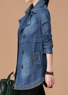 Long Sleeve Notch Collar Button Embellished Denim Coat | Rosewe.com - USD $41.99