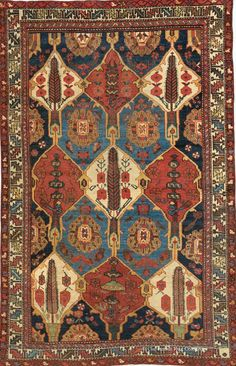 Persian Bakhtiari rug, 4ft 4in x 6ft 9in, late 19th Century, Claremont gallery