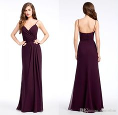 2017 Sexy Backless Bridesmaid Dresses Burgundy Chiffon A Line Prom Party Gowns Spaghetti Straps Maid Of Honor Dress Floor Length One Shoulder Bridesmaid Dress Petite Bridesmaid Dresses From Dmronline, $79.1| Dhgate.Com