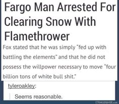 Flamethrowers: for when you dont possess enough willpower to shovel snow.