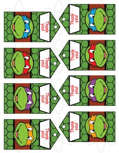 Printable Ninja Turtles Favor Tags