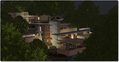 Frank Lloyd Wright's virtual recreation of Fallingwater at night, Seanchai Library, Kitely