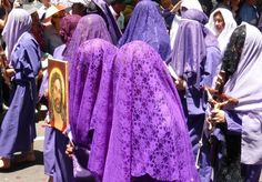 """""""Veronicas"""" with penitent face veil, Quito, during Easter"""