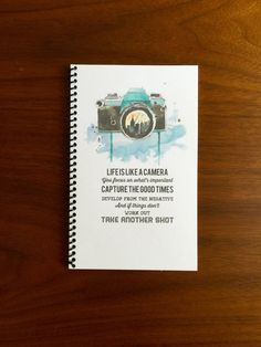 Life is Like a Camera Notebook 5 x 8 Watercolor Design Typography Motivational…