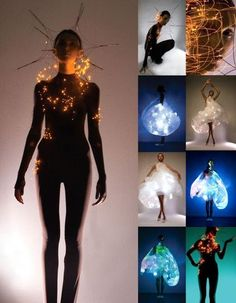 Philips LED light clothes by Mary Huang and Hussein Chalayan. Probably older pictures because Philips Lighting was sold and the link to this page is blind. E Textiles, Smart Textiles, Fashion Art, High Fashion, Fashion Show, Fashion Design, Emo Fashion, Gothic Fashion, Costume Led