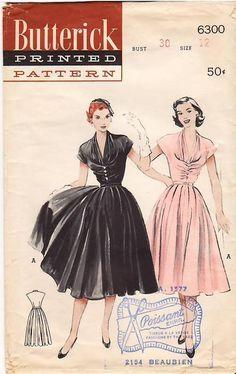 Butterick 6300, ca 1952; Sz 16/Bust 34