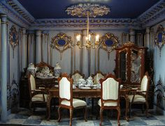 The Blue Room. by Ken - mini dining room Miniature Rooms, Miniature Houses, Miniature Furniture, Dollhouse Furniture, Dollhouse Interiors, Doll Furniture, Victorian Dolls, Victorian Dollhouse, Victorian Interiors