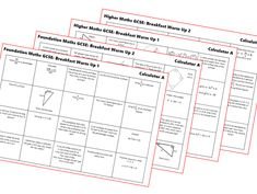 GCSE Non Calculator Revision Mats: Higher and Foundation by Foundation Maths, Calculator, Teaching Resources, Activities, Paper, Learning Resources