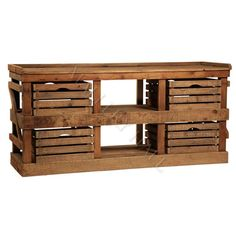 Reclaimed Wood Sideboard W Slated Baskets