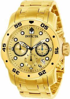 31e51c33f9a Relógio Masculino Invicta Pro Diver 0074 em aço inoxidável banhado a ouro  18K Original