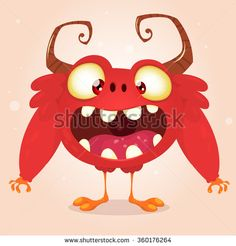 Furry cartoon monster with big teeth and opened mouth. Red vector monster mascot with big eyes and horns.  Alien monster